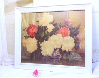 Antique Flower Picture Wood Frame Shabby Floral and Victorian Bouquet