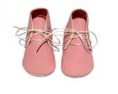 Handmade lambswool lined pink leather baby shoes.  Soft soled baby booties.  Crib Shoes.