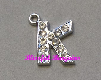 Dangle Charm Crystal Pave Silver Initial Letter K