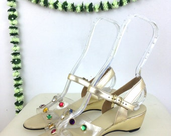 70's / 80's Gold and Clear Rainbow Jewel Mini Wedge Sandals / Size 6 /