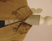 1930s 1940s 1950s Beige Camel Honey Swing Coat with Faux Fur Medium Large