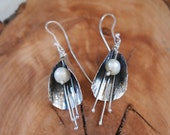 Bridal Earrings with pearl  - Petal Jewelry - Weddings - Floral - 925 in Silver
