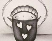 Hooray for LOVE - Original Pencil Drawing