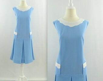 Blue Skies Dress - Vintage 1960s Mod Scooter Dress in Pastel Blue - XLarge