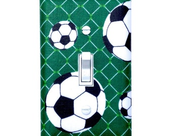 Soccer Light Switch Plate Cover / Boys Room / Green Black / Sporty Sports Playroom
