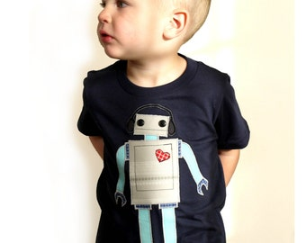 Boys / childs robot tshirt, w recycled fabric applique - red and teal