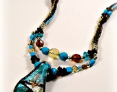 Bead Woven Necklace  With Fire Polished Glass Crystals, Oval Chalk Turquoise  & Lampwork Focal