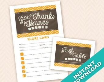 Downloadable Thanksgiving Printable Bunco Scorecard and Table Marker Set (a.k.a. Bunko, score card, score sheet)