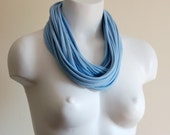 Light Blue Infinity Scarf - Fabric Necklace