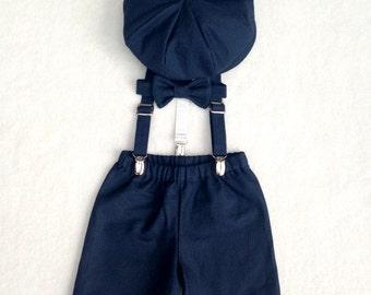 Ring Bearer Outfit, Navy Newsboy Set, Newsboy Ring Bearer, Navy Ring Bearer, Navy Blue Wedding, Baby Boy suit, Toddler boy