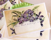 Violet Bookplate Stickers- bookplates - book labels - gifts for book lovers - book plate labels - acid free - gifts for her - gifts under 20