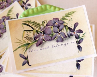 PERSONALIZED Violet Bookplates - Custom Floral bookplate stickers - book label - ex libris - botanical bookplate - gift for her - book plate