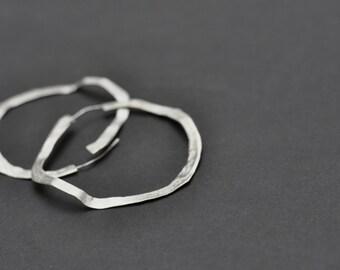 large rustic hoop, silver sterling plated, XXL earrings, big organic earrings, party silver earrings, texturized hoops, mai solorzano, gift