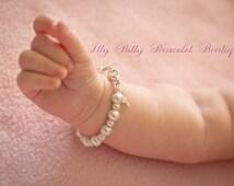 Sterling Silver Cross Baptism Gift, Baby Keepsake Bracelet, Christening Communion Gift White Pearl Baby Bracelet-- FREE Gift Packaging