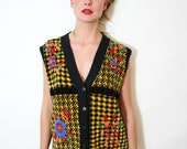 Vintage Black and Yellow Sweater Vest with Floral Applique