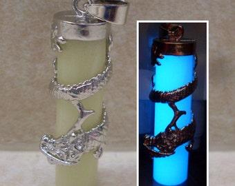 GLOW in the DARK Dragon Wrap Column Charm Pendant Necklace - Green, Blue, Aqua, Yellow, White, Orange, Red, Purple, Pink - Pillar Mythology