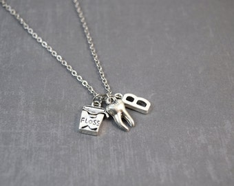Dentist Necklace, Dentist Gift, Teeth Necklace, Birthstone Jewelry, Personalized Jewelry, Initial Jewelry, Cute Jewelry, Kawaii Necklace