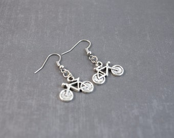 Bicycle Earrings - EcoFriendly Jewelry - Bike Jewelry - Handmade Jewelry - Dangle Earrings - Metal Jewelry - Triathlon Jewelry