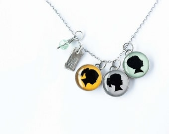 Cluster Necklace with Three Charms
