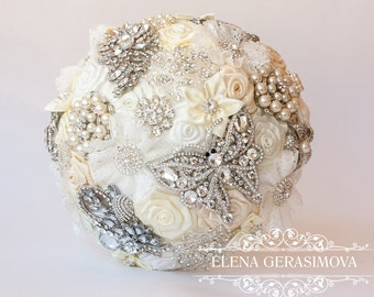 Brooch Bouquet. Ivory Fabric Bouquet, Unique Wedding Bridal Bouquet
