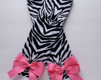 Leg Warmers with Bows  - Black and White Zebra Print - Choose Bow Color - Baby and Girl Legwarmers