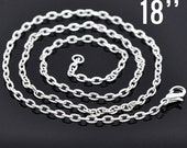 """500 WHOLESALE Necklaces Silver Textured Link Chain with Clasps 18""""  4.2x2.8mm  -  Ships IMMEDIATELY  from California - CH279g"""