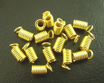 Gold Crimp Fasteners - Coil Ends - 4x8mm 50pcs - Ships IMMEDIATELY  from California - F194