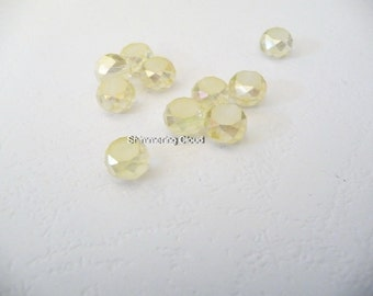 Frosted beads, Crystal, 6 mm, rondelle, round, faceted, beads, frosted, pale, tranlucent, yellow, quartz, swarovski,