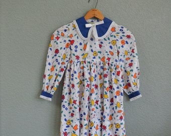 1980s 6/7 GIRL floral baby doll long sleeve dress