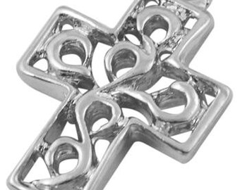 10 cross charm pendant antique silver 18mm x 12mm 10pcs (719) - Flat rate shipping