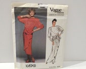 Kasper Vogue Sewing Pattern FF uncut 80s Cocktail Evening Dress Vogue 1510 Size 12 Bust 34 American Designer Dynasty Glamour Free us ship