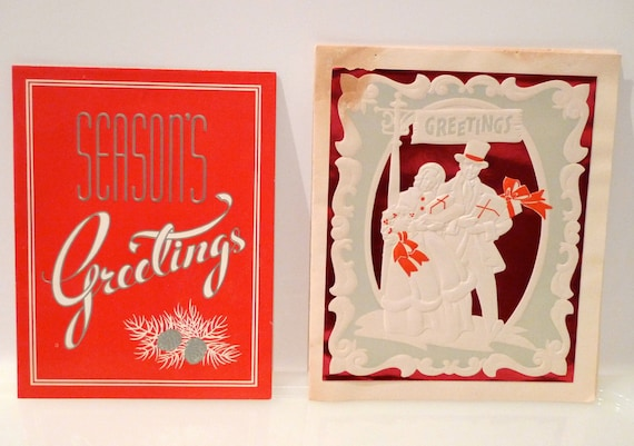 Christmas Card 1940s (set of 2) Electric Company Motor Company Business Greeting Card Ephemera Collectible Vintage Antique  FREE US SHIPPING