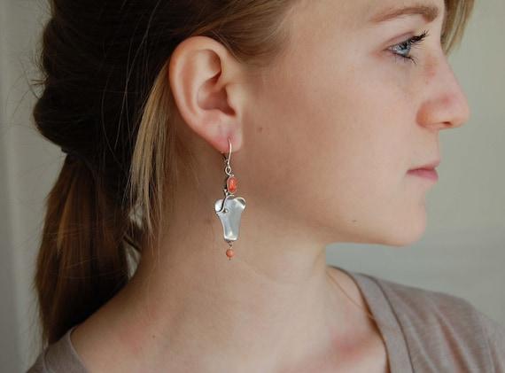 Natural Coral Earrings Metalwork Earrings Handmade Silver Earrings Metalwork Jewelry Art Jewelry Natural Coral Jewelry