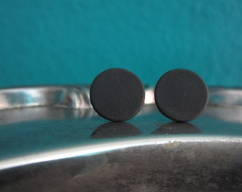 11mm Flat Matte Black Stud Earrings with Titanium Posts