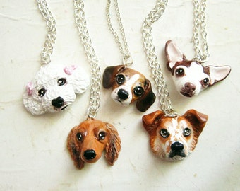 Custom Dog Necklace or brooch, Pet portrait, pet jewelry-Price for One custom necklace-