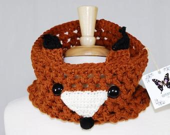 Fox Cowl- Crochet Fox Cowl- Crochet Fox- Neck Warmer-Women Accessories-Kawaii- Animal Cowl- Crochet Scarf-Rust