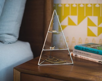 Lyra Pyramid Display Box, medium - glass pyramid - jewelry box - hinged - silver or copper - eco friendly