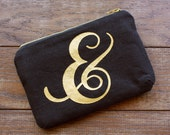 Hand Printed Metallic Gold Ampersand Black Cotton Hemp Zip Pouch