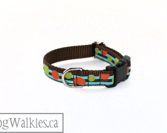 """Bubbly Brown and Blue Stripes - Dog Collar - 3/4"""" Wide (19mm) - Martingale or Side Release - Choice of collar style and size // Orange Dot"""