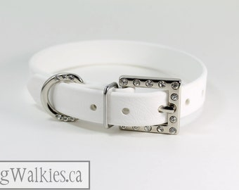 "Elegant Snow White Dog Collar // Rhinestone Buckle // White Leather Like // Custom Wedding dog collar // 3/4"" - 19mm wide"
