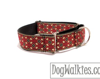 "Magic Carpet Ride Wide Dog Collar - 1.5"" (38mm) Wide - Wide Martingale or Plastic Quick Release - Choice of collar style and size"