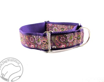 "Plum Paisley Floral Dog Collar - 1.5"" (38mm) Wide - Choice of size and stlye - Wide Martingale or Side Release Buckle - Purple // Rose Pink"
