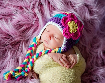 Hat for girls, crochet hat for girls, baby hat, baby girl hat, newborn girls hat, crochet girls hat, girls hat, newborn hat, earflap hat.