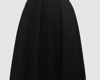 Black Cotton Circle Skirt with Pockets 50's Pin Up Style Made to Measure