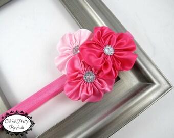 Pink Headband - Flower Headband - Elastic Headband - Pink Flower Headband - Baby Toddler Teen Headband - Pink - Valentines Day - Easter