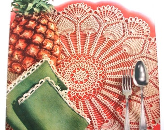 Vintage Crochet Pattern Brochure, Pineapples, Spool Cotton Company 1952