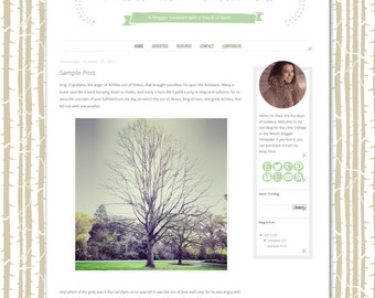 Cottage in the Woods Blogger Template - Birch Woodlands Blogger Blog Theme  - Clean Whimsical Blog Design Woodland Blogger Template Forest