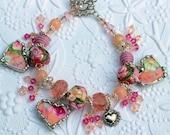 Broken China Bracelet Heart Charms Handmade Lampwork Beads Peach Floral Chintz Sterling Silver