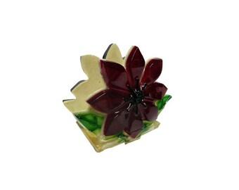 CLEARANCE Vintage Napkin Holder - Vintage Lucite Flower Napkin Holder, Mid Century Kitchen, Mail Holder, Red Acrylic Flower, Retro Kitchen
