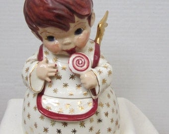 Vintage Hand  Painted  Angel Candy Jar c1950s